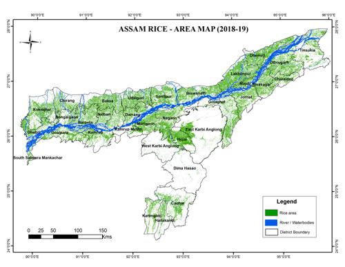 Assam Rice Area Map, (2018-19)