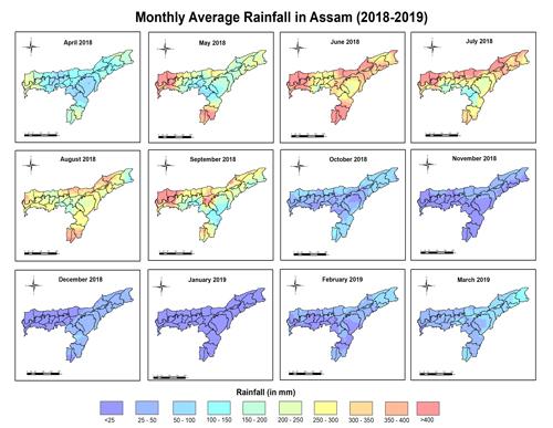 Monthly Average Rainfall in Assam (2018-19)