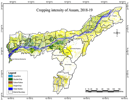 Cropping intensity of Assam, <br/>(2018-19)